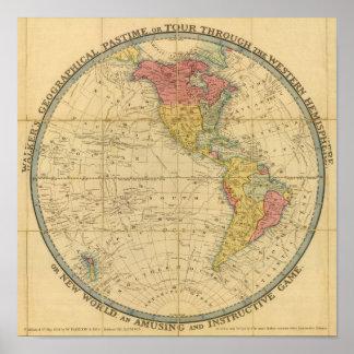 Mapas geográficos del pasatiempo del caminante póster