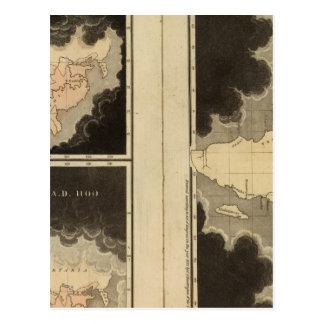 mapas grabados del mundo postal