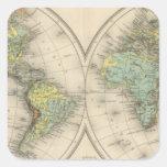 Mapas hipsométricos del mundo pegatina cuadrada