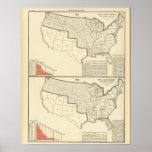 Mapas litografiados bicolores de Estados Unidos Posters