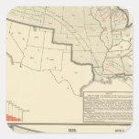 Mapas litografiados bicolores de Estados Unidos Calcomania Cuadradas