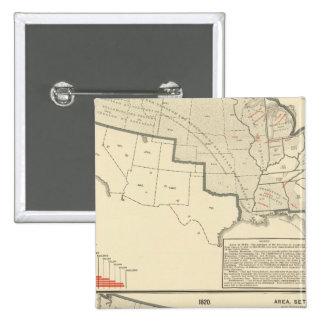 Mapas litografiados bicolores de Estados Unidos Pin Cuadrado