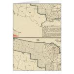 Mapas litografiados bicolores de Estados Unidos Felicitaciones