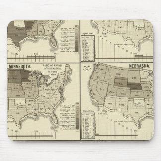 mapas litografiados de Estados Unidos Tapete De Ratón