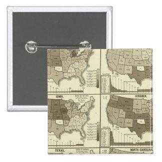 Mapas litografiados Estados Unidos estadísticos Pin Cuadrado