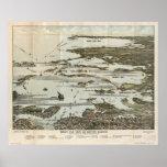Mapas panorámicos antiguos del mA 1920 del puerto  Póster