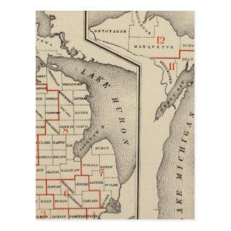 Mapas que muestran los distritos parlamentarios tarjetas postales