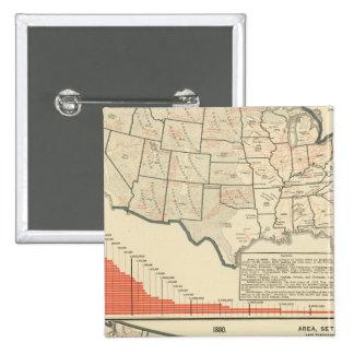 Mapas temáticos de Estados Unidos Pin Cuadrado