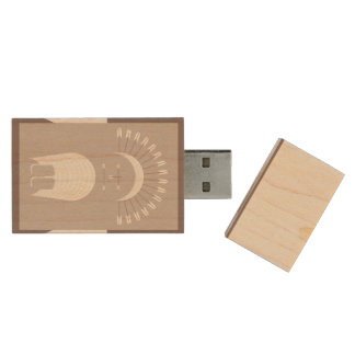 Maple, 8gb, Rectangle ARROW HEADDRESS Wood USB Flash Drive