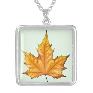 Maple autumn leaf silver plated necklace