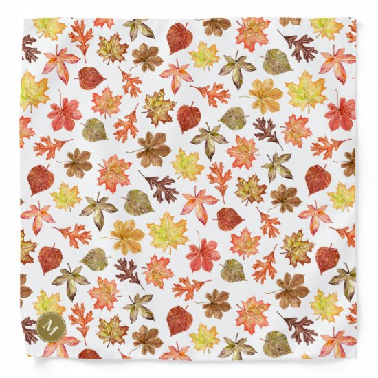 Maple Chestnut Oak autumn leaves pattern Bandana