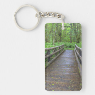 Maple Glade trail wooden bridge, ferns and Double-Sided Rectangular Acrylic Keychain
