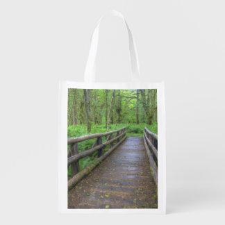 Maple Glade trail wooden bridge, ferns and Market Tote