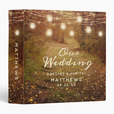Maple Grove String Light Boho Wedding Photo Album 3 Ring Binder