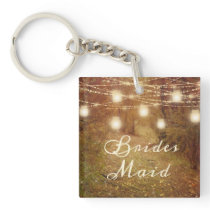 Maple Grove String Light Rustic Country Bridesmaid Keychain