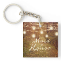 Maple Grove String Light Rustic Maid of Honor Keychain