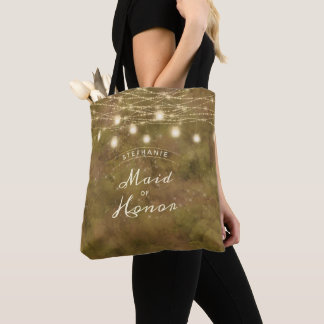 Maple Grove String Light Rustic Maid of Honor Tote Bag