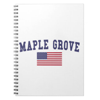 Maple Grove US Flag Spiral Notebook