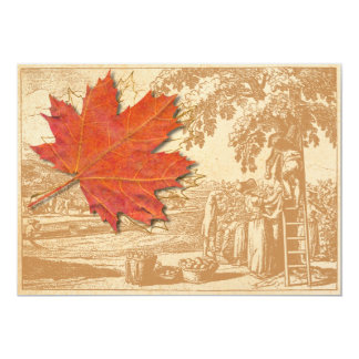Maple Leaf and Old Harvest Engraving Card