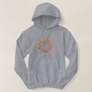 Maple Leaf Applique Embroidered Hoodie