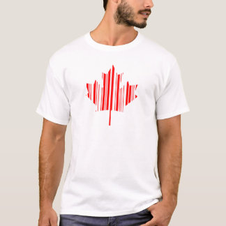 MAPLE LEAF BAR CODE CANADA FLAG Barcode Pattern T-Shirt