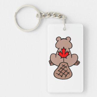 Maple Leaf Beaver Acrylic Keychain