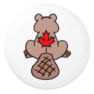 Maple Leaf Beaver Drawer Pull Ceramic Knob