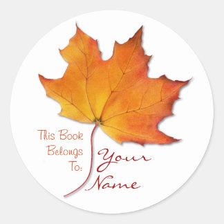 Maple Leaf Bookplate Sticker