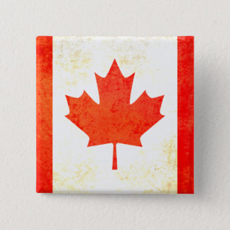 Maple leaf canadian flag button in red and white