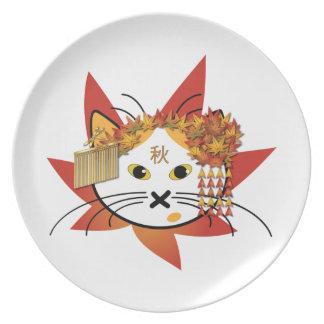 Maple-leaf Cat Dinner Plate