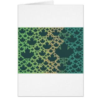 Maple Leaf Design ♥ Green Canada, template Greeting Card