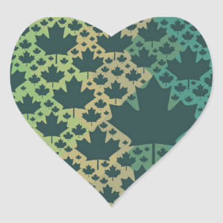 Maple Leaf Design ♥ Green Canada, template Heart Sticker