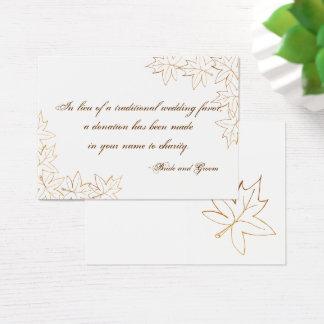 Maple Leaf Edge Fall Wedding Charity Favor Card