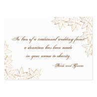 Maple Leaf Edge Wedding Charity Favor Card Business Cards