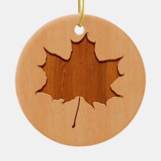 Maple leaf engraved on wood design ceramic ornament