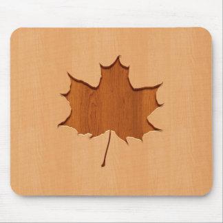 Maple leaf engraved on wood design mouse pad