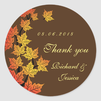 Maple Leaf Fall Autumn Wedding Sticker Brown