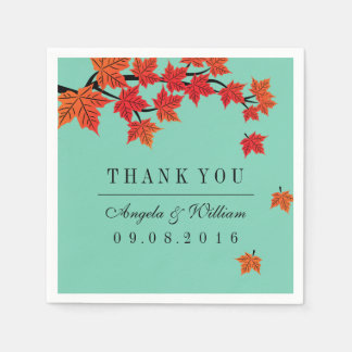 Maple Leaf Falling Paper Napkin for Autumn Wedding
