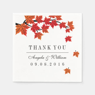 Maple Leaf Falling Paper Napkin for Fall Wedding