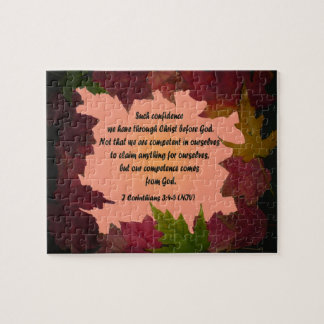 Maple Leaf Frame 1 Cor 3 4-5 Bible Verse Jigsaw Puzzle