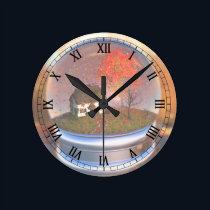 Maple Leaf Globe Clock
