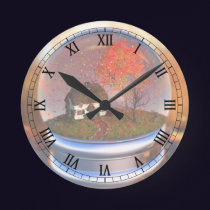 Maple Leaf Globe Clock