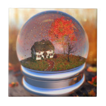 Maple Leaf Globe Decorative Tile