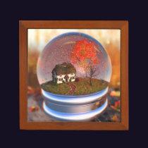 Maple Leaf Globe Desk Organizer