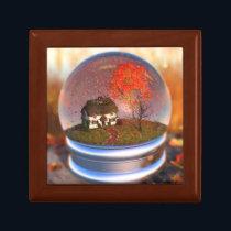 Maple Leaf Globe Jewelry Box