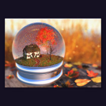 Maple Leaf Globe Photo Print