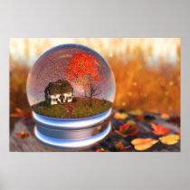 Maple Leaf Globe Print