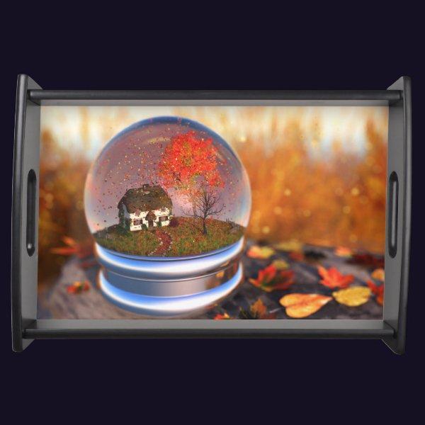 Maple Leaf Globe Serving Tray