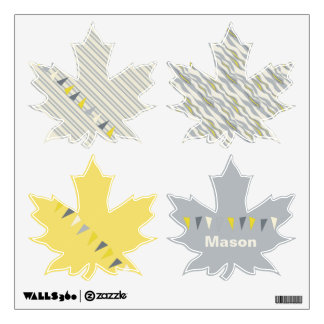 Maple Leaf Gray and Yellow Bunting Wall Decal