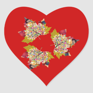 Maple Leaf Heart Sticker